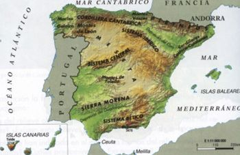 Conjunto de actividades para trabajar el relieve de España. Tipo: completar campos, resolver crucigramas, relacionar preguntas y respuestas, etc.