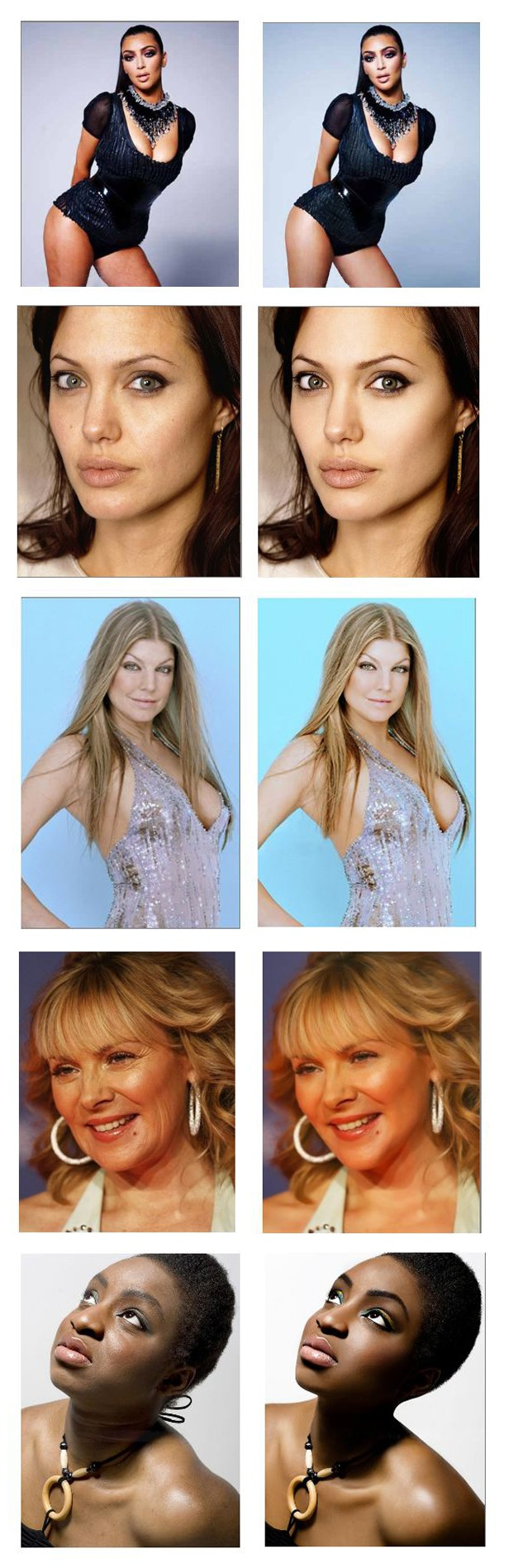 "Don't believe the magazine lies; society's ideal woman is impossible. ""Photoshop transformations of celebrities and models revealed. Click for more photos."""