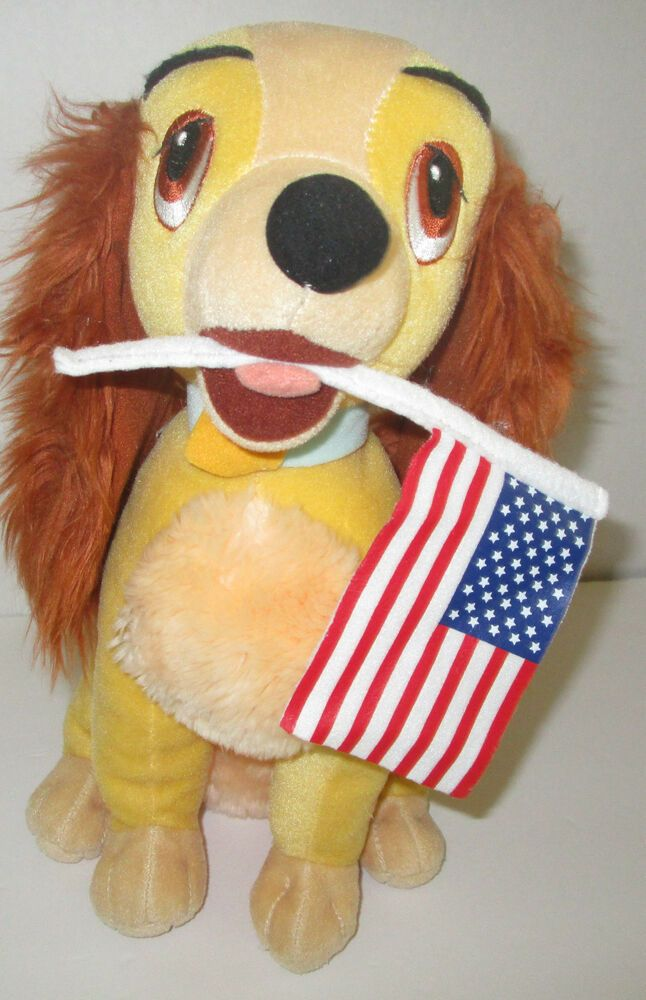 Plush Disney Lady Dog 13 Stuffed Toy Holding American Flag Lady