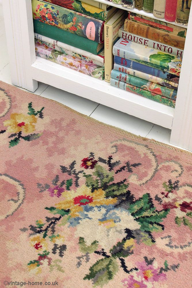 Vintage Home Shop - Lovely old 1940s Wartime Floral Rug and Vintage Books: www.vintage-home.co.uk