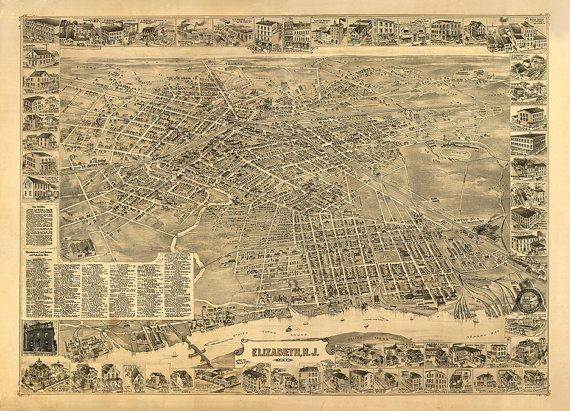 Elizabeth, New Jersey, NJ map 1898.  Landis & Hughes.  Includes illus. and directory. Reproduction Bird's eye view Print Poster
