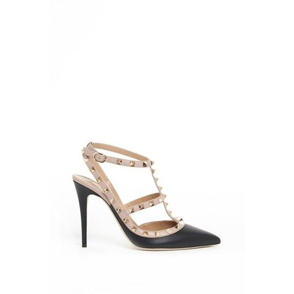 VALENTINO GARAVANI Calf Leather  'Rockstud' Pumps (1 390 BGN) ❤ liked on Polyvore featuring shoes, pumps, black, black pumps, black high heel pumps, valentino pumps, high heel shoes and calfskin leather shoes