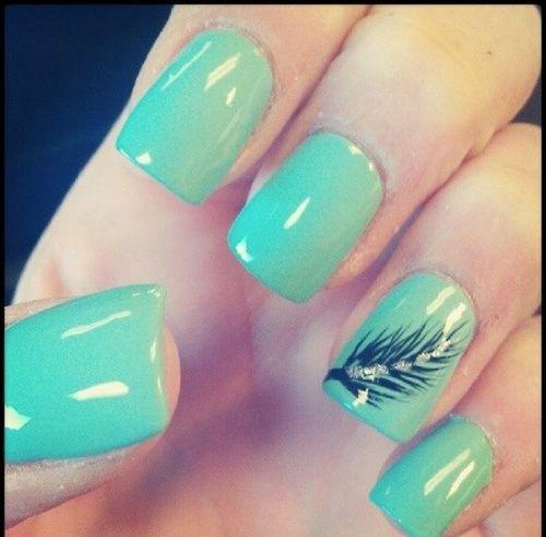 Mint Colour Feather Nails