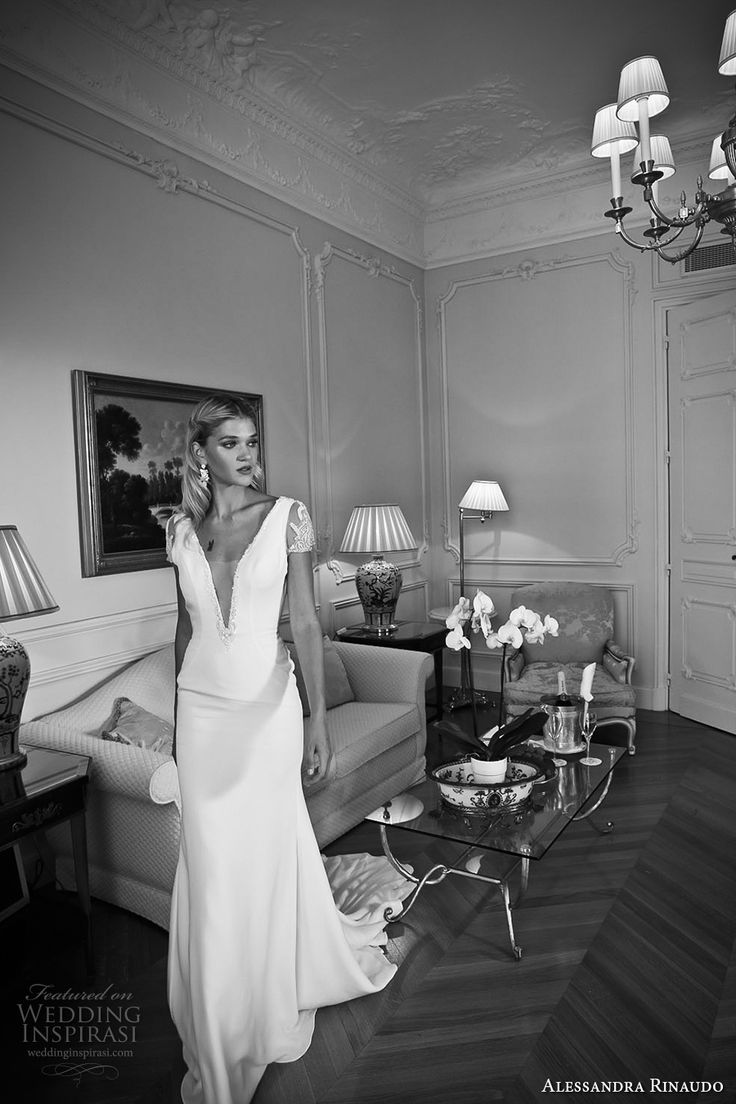 alessandra rinaudo 2017 bridal short sleeves plunging v neck simple clean elegant sheath wedding dress open low back chapel train (19) mv