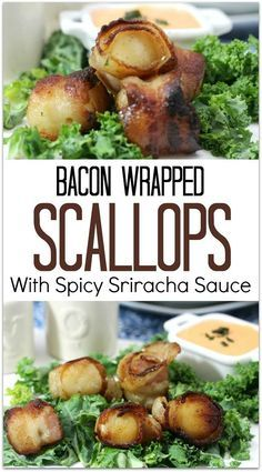 bacon wrapped scallops with spicy cilantro mayonnaise bacon wrapped ...