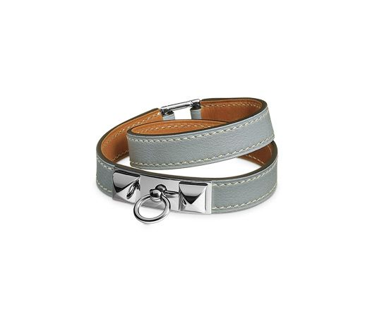 Rivale Hermes leather bracelet (size S) Hydra blue swift calfskin Silver  and palladium plated hardware, double tour, 14