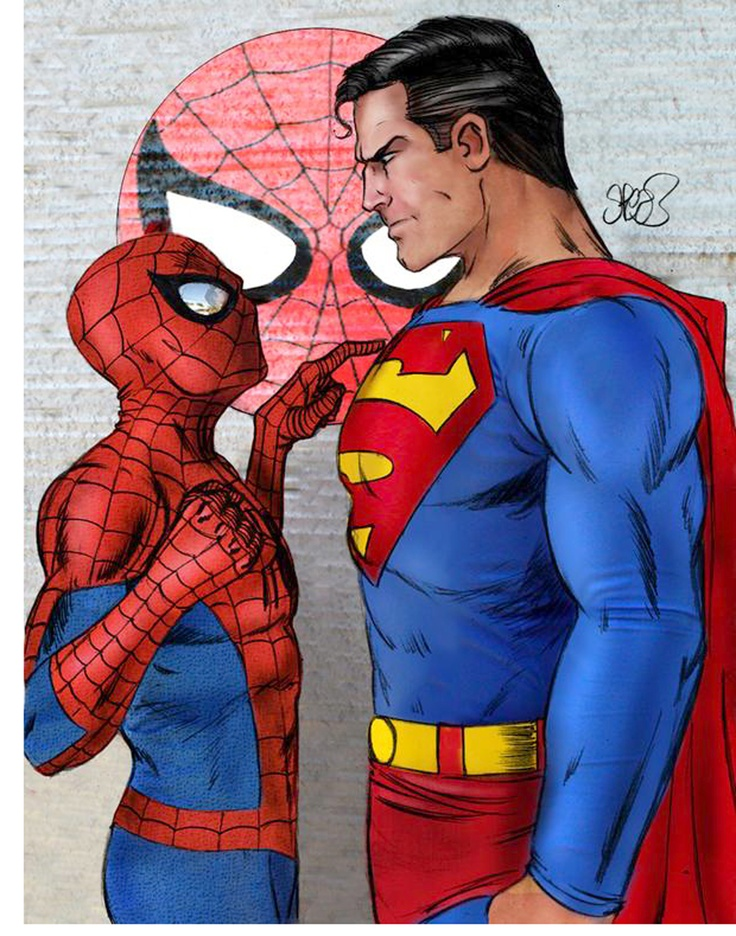 Comic Book Art - Spiderman and Superman