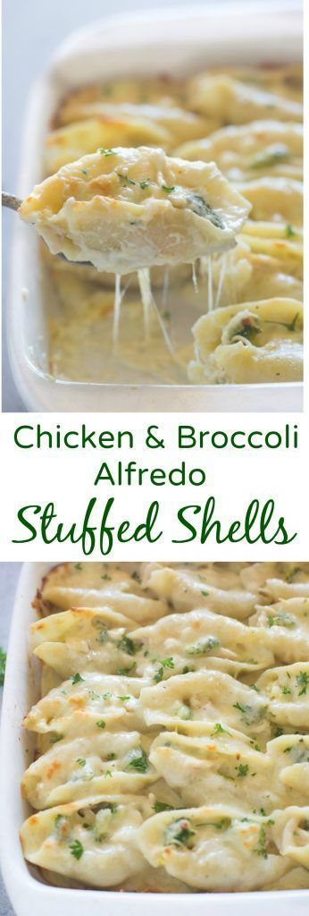 Chicken and Broccoli Alfredo Stuffed Shells includetender pasta shells filled with a cheesy shredded chicken and broccoli mixture and smothered in an easy homemade alfredo sauce. | Tastes Better From Scratch