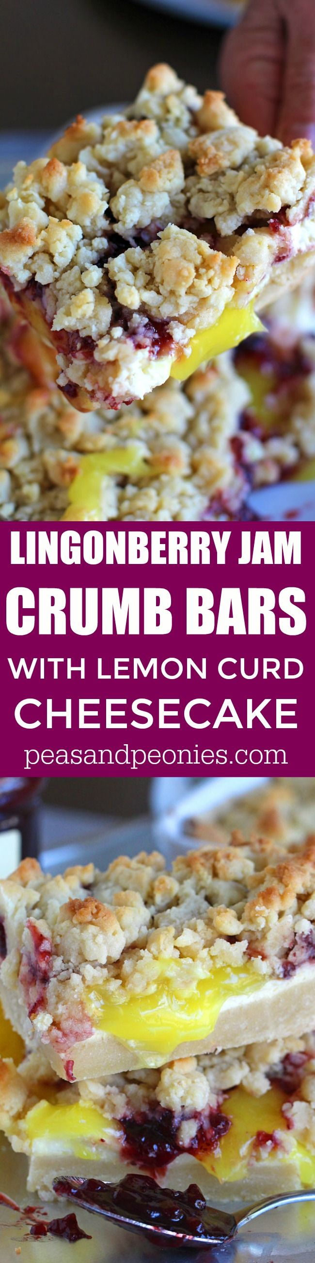 Lingonberry Bars are crumbly and buttery with a refreshing and creamy layer of lemon curd cheesecake topped with lingonberry jam and a crumb topping.