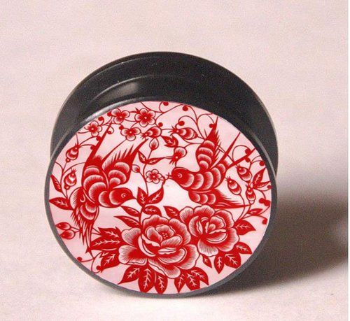 PAIR PRETTY RED FLOWERS & BIRDS EAR PLUGS TUNNELS GAUGES FREE SHIPPING U.S. | eBay