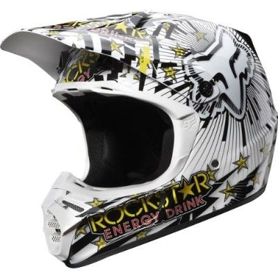 Capacete Fox Racing Ryan Dungey Rockstar Replica Men's V3 MotoX Off-Road Dirt Bike Motorcycle Helmet White Black #Capacete #Fox Racing