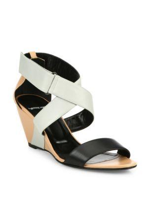 PIERRE HARDY Kl10 Leather Crisscross Wedge Sandals. #pierrehardy #shoes #sandals