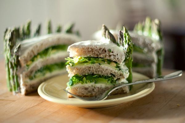 """Sandwich cakes"" filled with summer avocado, cream cheese, cucumber, sprouts with a local bakery loaf."
