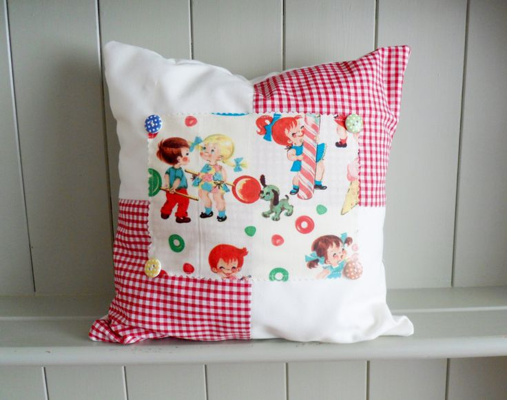 Retro Kitsch style Children's throw pillow, cushion. New baby gift. - pinned by pin4etsy.com
