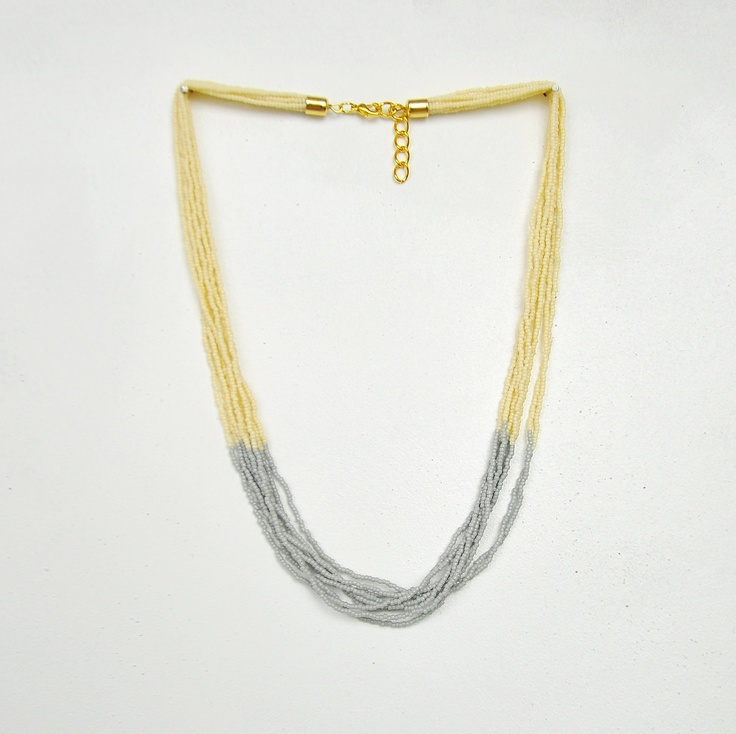 color blocked grey beige beaded necklace