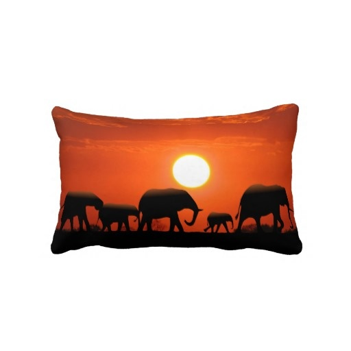 Elephant family and African mud cloth Pillow