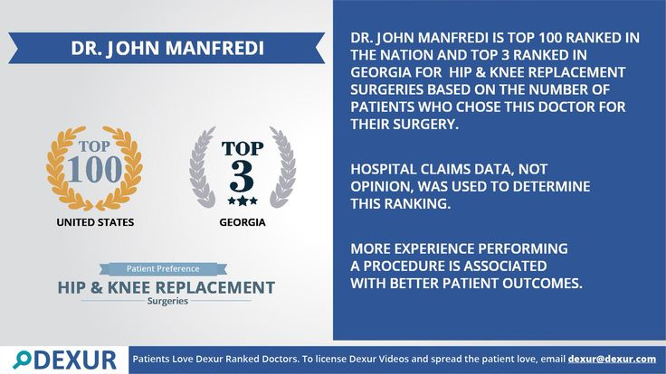 DR. JOHN MANFREDI is among the top ranked Hip & Knee