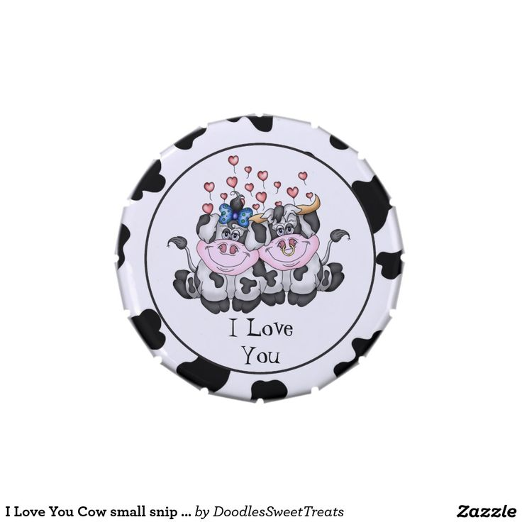 I Love You Cow small snip snap candy tin | Cow