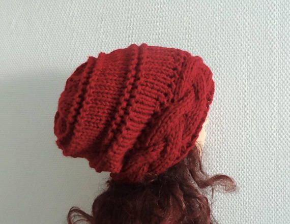 Slouchy Womens Knit Hat red wine Beanie Womens Accessories