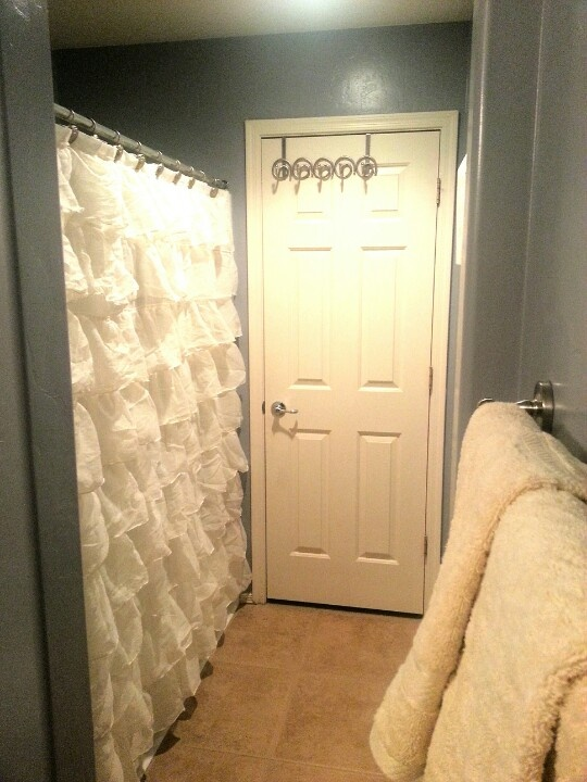 Cream Ruffle Shower Curtain My House Wants That Pinterest Grey Ruffles And Curtains