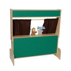 $214.99 Wood Designs Natural Environment Puppet Theater with Brown Curtains | Wayfair