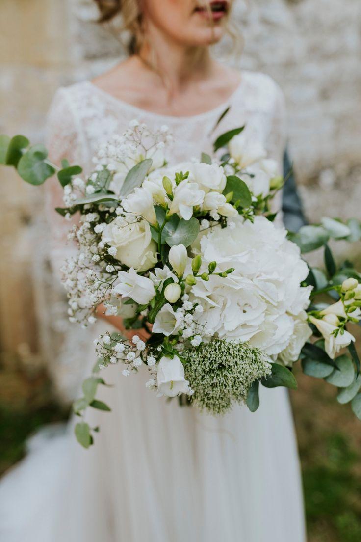 Simply gorgeous - hydrangeas, roses, gyp, eucalyptus and much more. By Dandy, Oxfordshire. Photo by Benjamin Stuart Photography #weddingphotography #weddingbouquet #weddingflowers #florist #flowerheaven #bride #bouquet #whiteandgreen