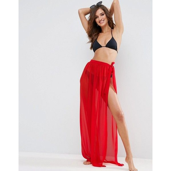 ASOS Maxi Chiffon Beach Sarong with Satin Tie ($24) ❤ liked on Polyvore featuring swimwear, cover-ups, red, red sarong, maxi swim cover up, maxi cover up, beach cover up and red swimwear