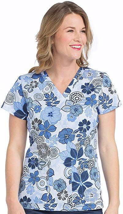 cfc9ebb5ab9 Amazon.com: Med Couture Originals Women's Valerie Floral Print Scrub Top  Large Print: Clothing