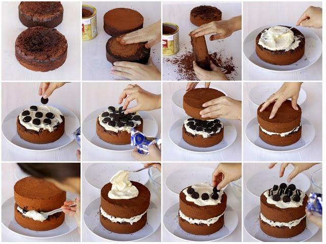 Tarta de chocolate con crema de queso / Chocolate cake with cheese cream and Oreo