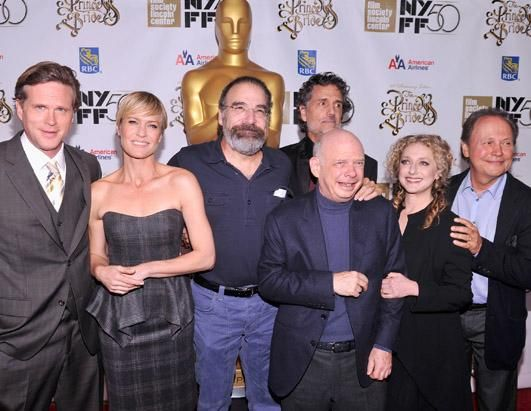 """Cary Elwes, Robin Wright, Mandy Pantinkin, Chris Sarandon, Wallace Shawn, Carol Kane, and Billy Crystal attend the 25th anniversary screening & cast reunion of """"The Princess Bride"""" during the 50th New York Film Festival at Alice Tully Hall on October 2, 2012 in New York City."""
