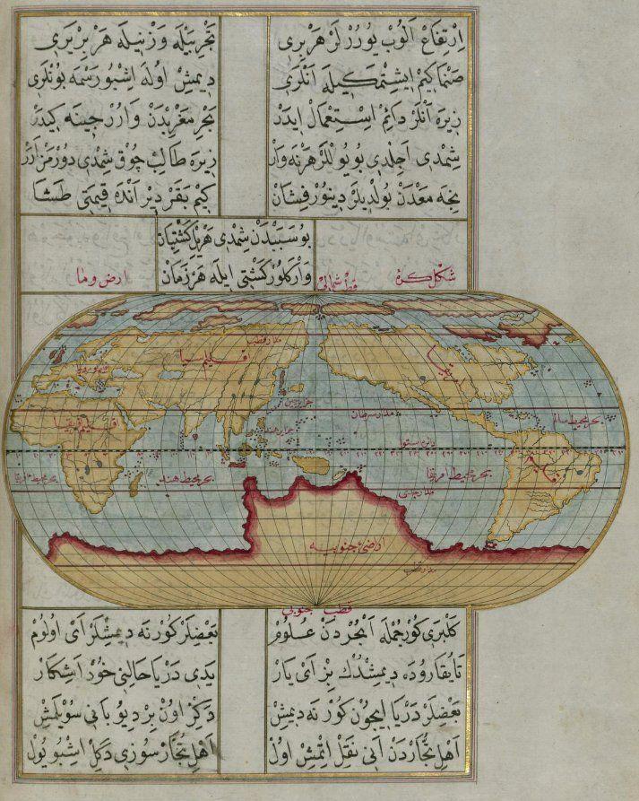 "A world map from ""Kitab-ı Bahriye"", written by Piri Reis in the 16th century as a gift to Ottoman Sultan Süleyman."