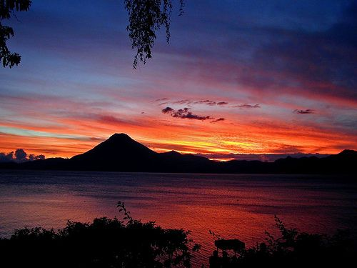 sunset in Lake Atitlan from Panajachel, Guatemala | Nature ...