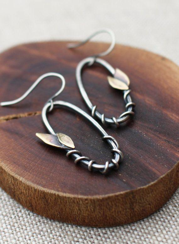 Leaf & Vine Earrings Silver Brass by Karismabykarajewelry on Etsy