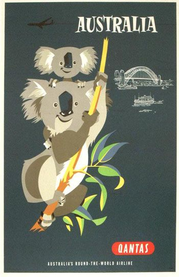 Australia / vintage travel poster by qantas airlines