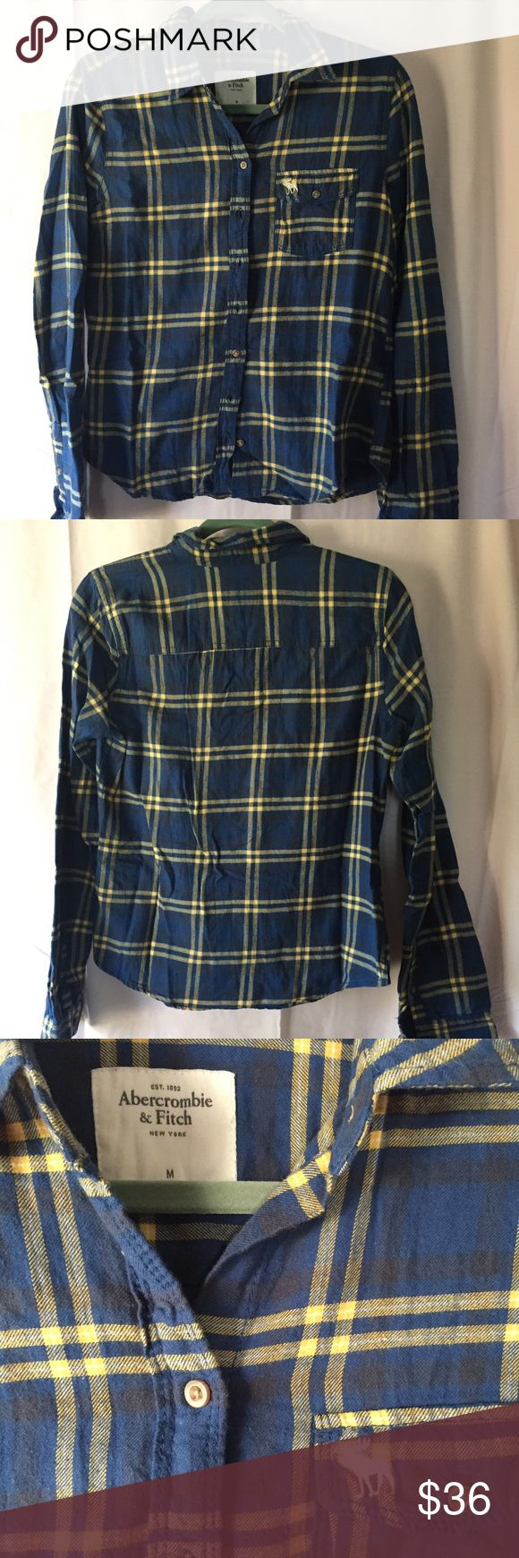 Abercrombie and Fitch Flannel Like New Abercrombie and Fitch Flannel. Beautiful blue and yellow. Worn a couple times but looks almost new with only mild wear. Abercrombie & Fitch Tops Button Down Shirts