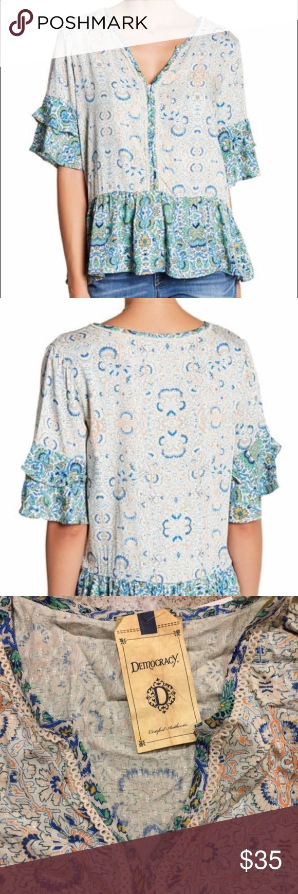 """Democracy Double Ruffle Print Blouse Double ruffle print blouse by Democracy at Nordstrom  - V-neck - Elbow length sleeves with double ruffle details - Allover print - Knit trim - Hi-lo hem - Approx. 25.5"""" shortest length, 28.5"""" longest length - Shell/contrast: 100% rayon Democracy Tops Blouses"""