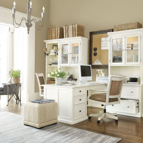 a set-up like this could be fun! my and hubby's desks back-to-back, with respective storage on either side, or 2 L shaped workstations put together to form large T, with shelves along opposite wall