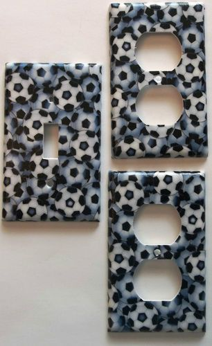 Soccer Ball Print Light Switch, Outlet Boys / Girls Bedroom Wall Decor. Different plate styles available.