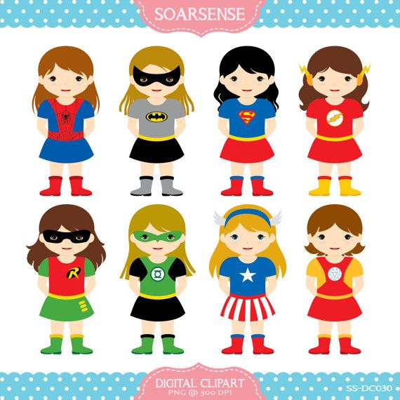 Girl Superheroes Clipart  1 by soarsense on Etsy, $5.00