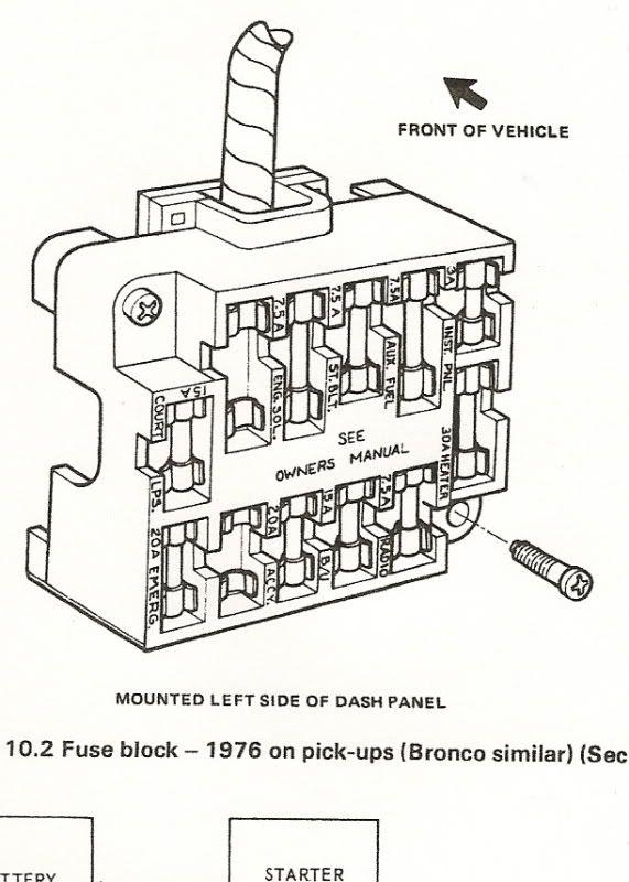 1976 ford bronco fuse box