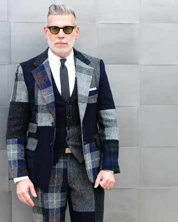 Nick Wooster in a tartan suit, shot by Tommy Ton