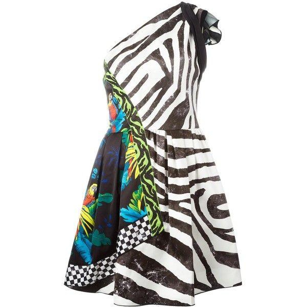 Marc Jacobs multi-pattern one shoulder dress ($999) ❤ liked on Polyvore featuring dresses, short dresses, white one shoulder dress, one shoulder white cocktail dress, short cocktail dresses and sleeveless short dress