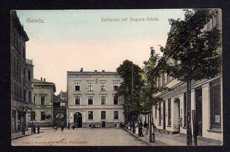 96488 AK Gliwice Gleiwitz Karlsplatz MIT Augusta Schule UM 1905 Colonialwaren   eBay