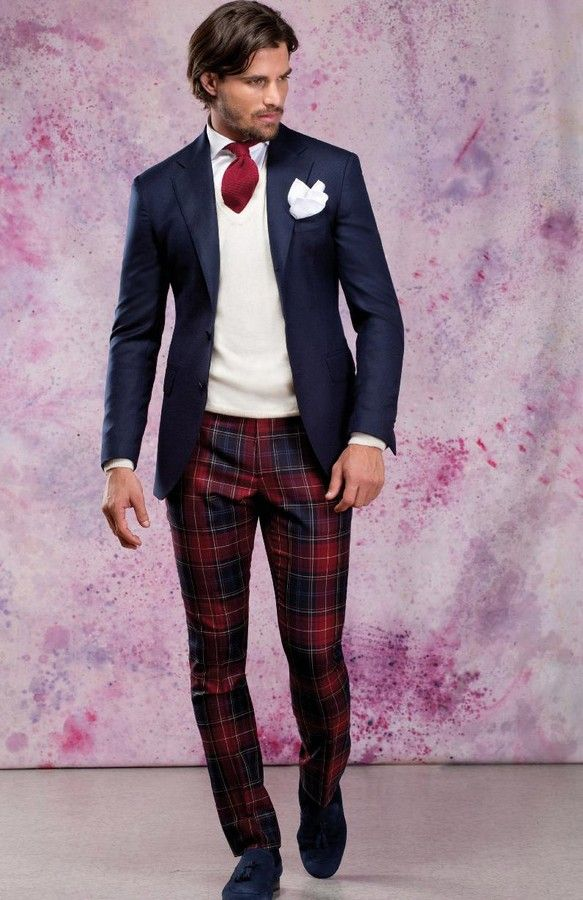 PLAID FOR MEN. Very nice outfit for a Holiday Party. www.designerclothingfans.com