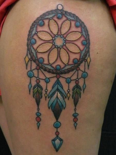 colorful small dreamcatcher tattoo | Dreamcatcher ...