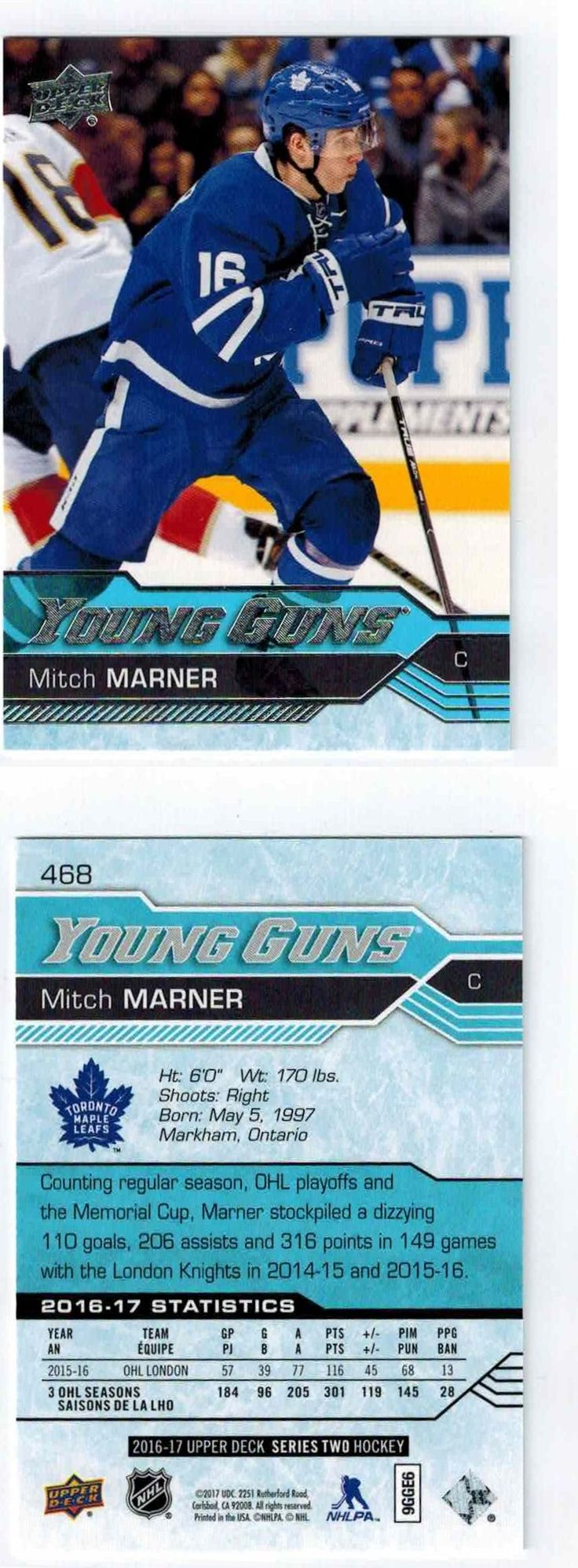 Ice Hockey Cards 216: 2016-17 Upper Deck - Mitch Marner - #468 Young Guns -> BUY IT NOW ONLY: $49.99 on eBay!