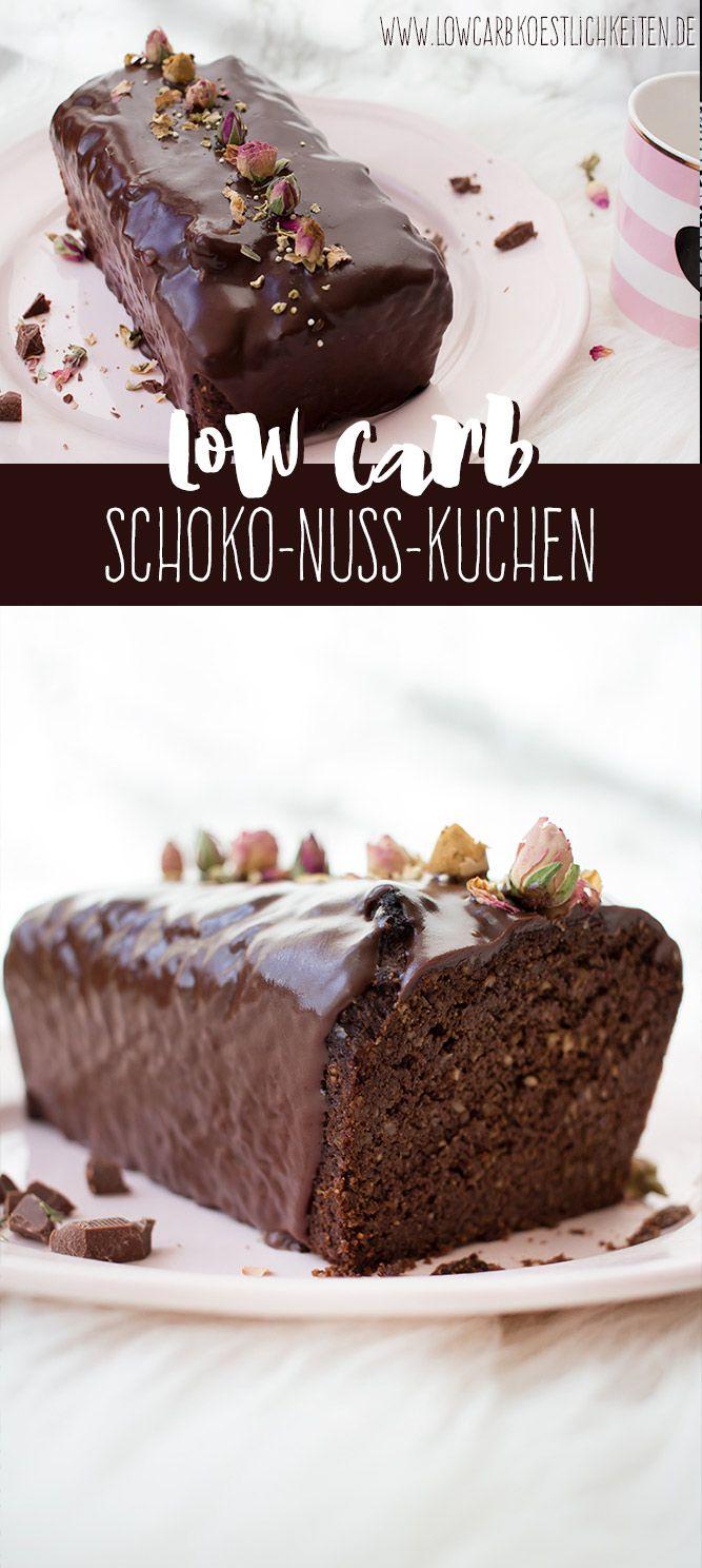 Low Carb Schoko-Nuss-Kuchen aus Leinsamenmehl mit Schokoglasur #lowcarb #lowcarbköstlichkeiten #glutenfrei #abnehmen