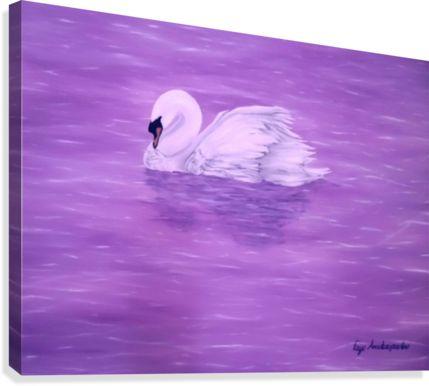 animal painting, swan, Canvas Print