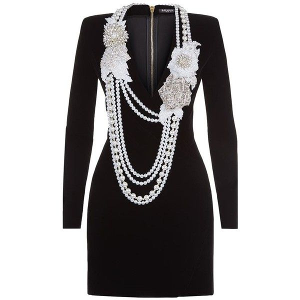 Balmain Pearl Necklace-Embellished Velvet Dress found on Polyvore featuring dresses, plunging neckline cocktail dress, military dress, mini dress, velvet cocktail dresses and loose fitting dresses