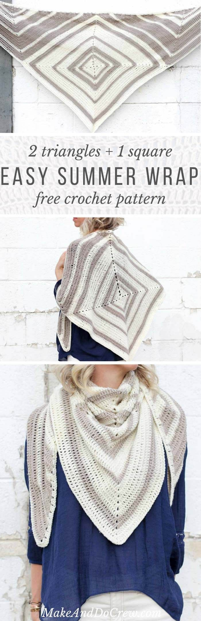 Ooh! This free modern scarf crochet pattern is surprisingly simple to make out of one square and two triangles. Very few ends to weave in!